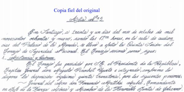 ACTA Nº 5 CONSEJO DE SEGURIDAD NACIONAL
