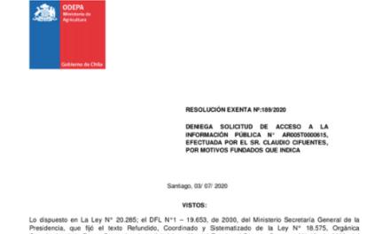RESOLUCIÓN EXENTA N° 189/2020, ODEPA
