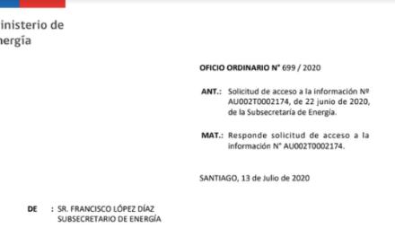 OFICIO ORDINARIO N° 699/2020, SUBSECRETARÍA DE ENERGÍA