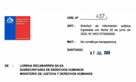 ORD. N°437, SUBSECRETARÍA DE DERECHOS HUMANOS