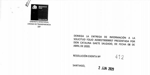 RESOLUCIÓN EXENTA N°412, SUBSECRETARÍA DE SALUD