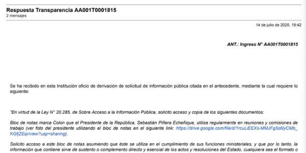 Respuesta Transparencia AA001T0001815, PRESIDENCIA DE LA REPÚBLICA