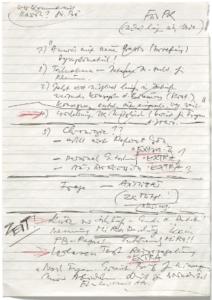 Fotocopia de las notas de Egon Krenz