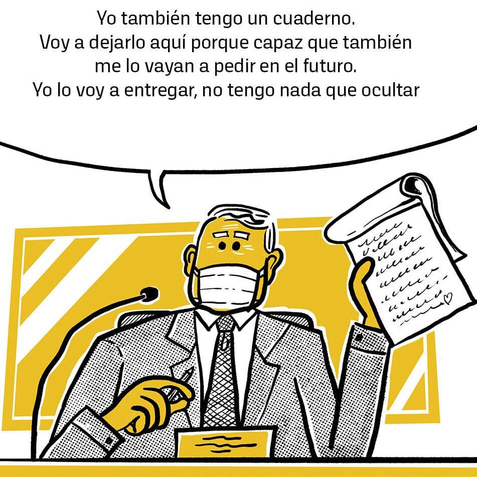 El cuaderno amarillo en el podio de La Moneda, 16 de marzo de 2020. Fuente: Chilevisión.