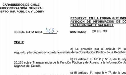 RESOLUCIÓN EXENTA N°465, CARABINEROS DE CHILE