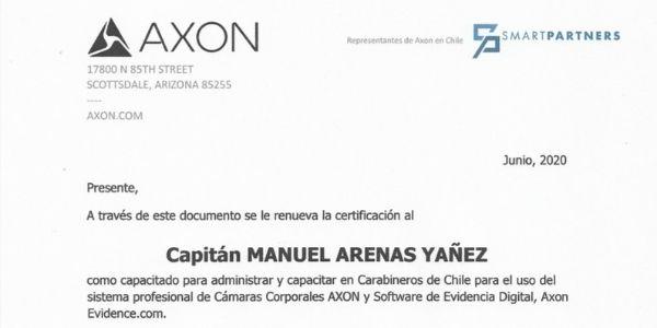 CERTIFICACIÓN CAPITÁN MANUEL ARENAS YÁÑEZ, CARABINEROS DE CHILE