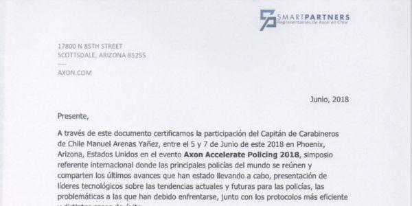 CARTA DE CERTIFICACIÓN AXON, CARABINEROS DE CHILE