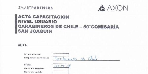 ACTA DE CAPACITACIÓN NIVEL USUARIO AXON, CARABINEROS DE CHILE