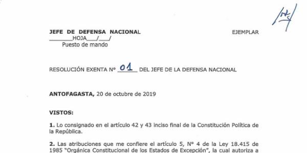 RESOLUCIÓN EXENTA Nº1, JEFATURA DE LA DEFENSA NACIONAL DE ANTOFAGASTA