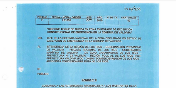 BANDO Nº8, JEFATURA DE LA DEFENSA NACIONAL DE VALDIVIA