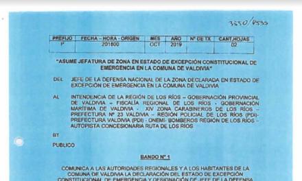 BANDO N°1, JEFATURA DE LA DEFENSA NACIONAL DE VALDIVIA