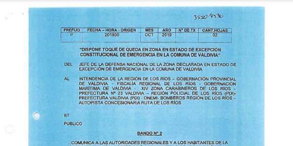 BANDO N°2, JEFATURA DE LA DEFENSA NACIONAL DE VALDIVIA