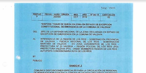 BANDO N°3, JEFATURA DE LA DEFENSA NACIONAL DE VALDIVIA
