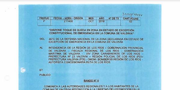 BANDO N°5, JEFATURA DE LA DEFENSA NACIONAL DE VALDIVIA