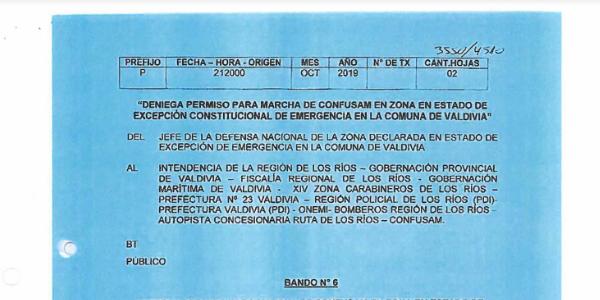 BANDO N°6, JEFATURA DE LA DEFENSA NACIONAL DE VALDIVIA