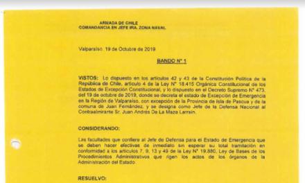 BANDO N°1, JEFATURA DE LA DEFENSA NACIONAL DE VALPARAÍSO