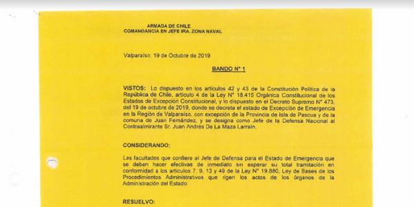 "<h1 class=""blogtitle"">BANDO N°1, JEFATURA DE LA DEFENSA NACIONAL DE VALPARAÍSO</h1>"