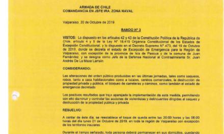 BANDO N°3, JEFATURA DE LA DEFENSA NACIONAL DE VALPARAÍSO