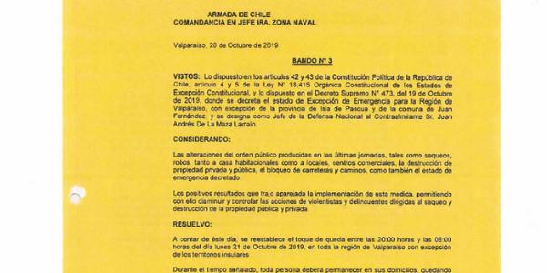 "<h1 class=""blogtitle"">BANDO N°3, JEFATURA DE LA DEFENSA NACIONAL DE VALPARAÍSO</h1>"