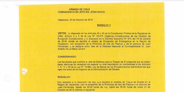 BANDO N°4, JEFATURA DE LA DEFENSA NACIONAL DE VALPARAÍSO