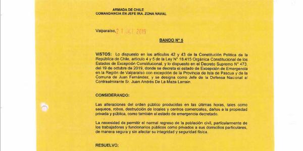 BANDO N°5, JEFATURA DE LA DEFENSA NACIONAL DE VALPARAÍSO