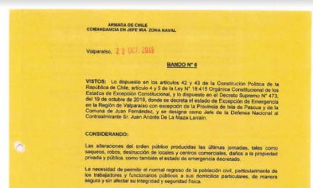 BANDO N°6, JEFATURA DE LA DEFENSA NACIONAL DE VALPARAÍSO