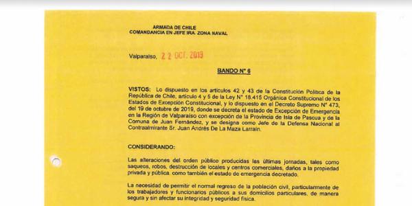 "<h1 class=""blogtitle"">BANDO N°6, JEFATURA DE LA DEFENSA NACIONAL DE VALPARAÍSO</h1>"