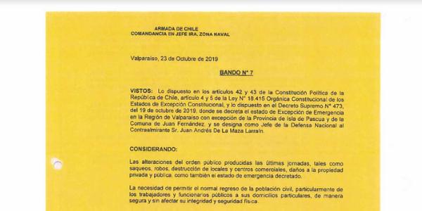 BANDO N°7, JEFATURA DE LA DEFENSA NACIONAL DE VALPARAÍSO