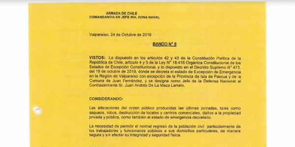 BANDO N°8, JEFATURA DE LA DEFENSA NACIONAL DE VALPARAÍSO