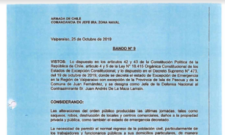 BANDO N°9, JEFATURA DE LA DEFENSA NACIONAL DE VALPARAÍSO