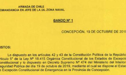 BANDO Nº1, JEFATURA DE LA DEFENSA NACIONAL DE CONCEPCIÓN