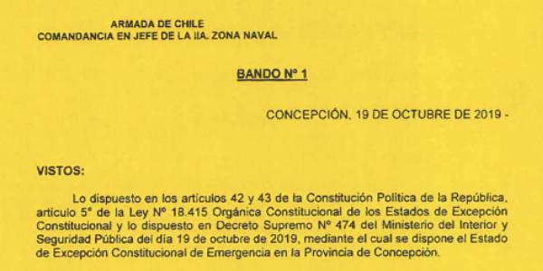 """<h1 class=""""blogtitle"""">BANDO Nº1, JEFATURA DE LA DEFENSA NACIONAL DE CONCEPCIÓN</h1>"""