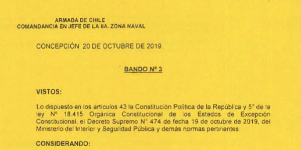 BANDO Nº3, JEFATURA DE LA DEFENSA NACIONAL DE CONCEPCIÓN