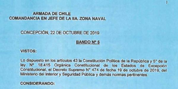 BANDO Nº5, JEFATURA DE LA DEFENSA NACIONAL DE CONCEPCIÓN