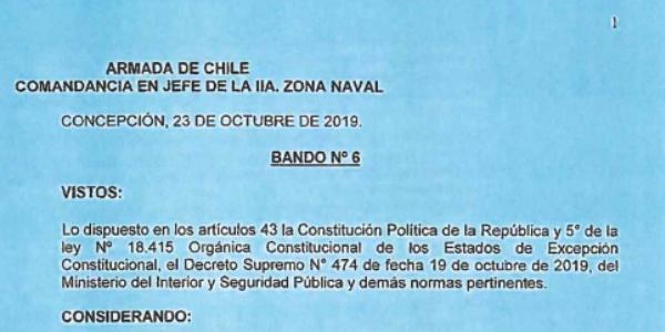 BANDO Nº6, JEFATURA DE LA DEFENSA NACIONAL DE CONCEPCIÓN