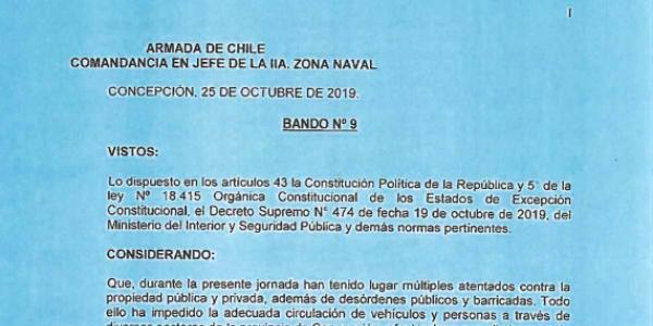 BANDO Nº9, JEFATURA DE LA DEFENSA NACIONAL DE CONCEPCIÓN