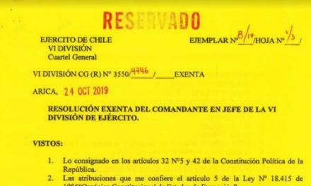 (R) Nº3550/4746 EXENTA, JEFATURA DE LA DEFENSA NACIONAL DE ARICA