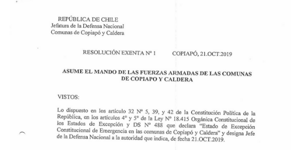 RESOLUCIÓN EXENTA Nº1, JEFATURA DE LA DEFENSA NACIONAL DE COPIAPÓ, CALDERA & VALLENAR