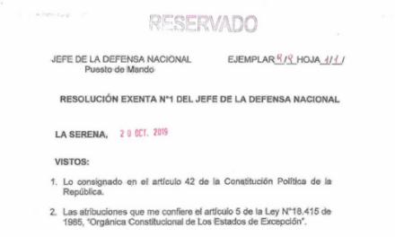 RESOLUCIÓN EXENTA Nº1, JEFATURA DE LA DEFENSA NACIONAL DE COQUIMBO & LA SERENA