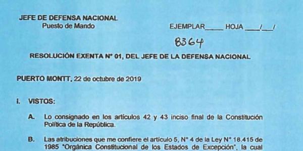 RESOLUCIÓN EXENTA Nº1, JEFATURA DE LA DEFENSA NACIONAL PUERTO MONTT & OSORNO