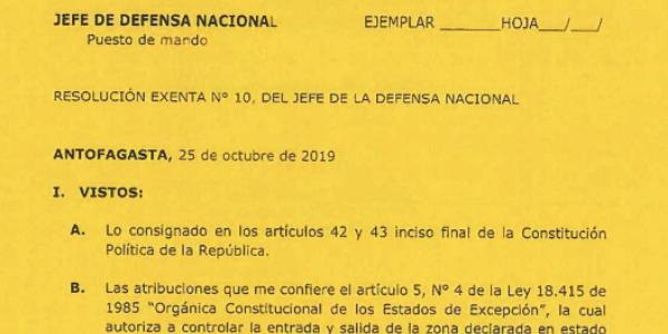 RESOLUCIÓN EXENTA Nº10, JEFATURA DE LA DEFENSA NACIONAL DE ANTOFAGASTA