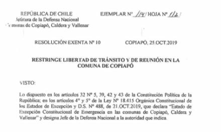 RESOLUCIÓN EXENTA Nº10, JEFATURA DE LA DEFENSA NACIONAL DE COPIAPÓ, CALDERA & VALLENAR