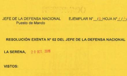 RESOLUCIÓN EXENTA Nº2, JEFATURA DE LA DEFENSA NACIONAL DE COQUIMBO & LA SERENA