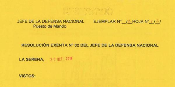 """<h1 class=""""blogtitle"""">RESOLUCIÓN EXENTA Nº2, JEFATURA DE LA DEFENSA NACIONAL DE COQUIMBO & LA SERENA</h1>"""