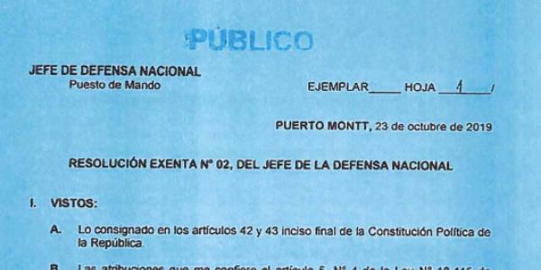 RESOLUCIÓN EXENTA Nº2, JEFATURA DE LA DEFENSA NACIONAL PUERTO MONTT & OSORNO