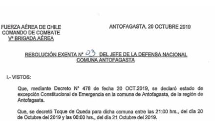 RESOLUCIÓN EXENTA Nº3, JEFATURA DE LA DEFENSA NACIONAL DE ANTOFAGASTA
