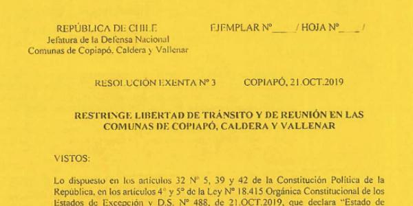 RESOLUCIÓN EXENTA Nº3, JEFATURA DE LA DEFENSA NACIONAL DE COPIAPÓ, CALDERA & VALLENAR