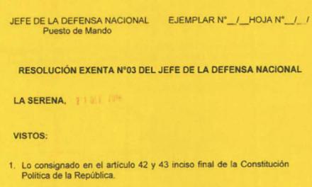 """<h1 class=""""blogtitle"""">RESOLUCIÓN EXENTA Nº3, JEFATURA DE LA DEFENSA NACIONAL DE COQUIMBO & LA SERENA</h1>"""