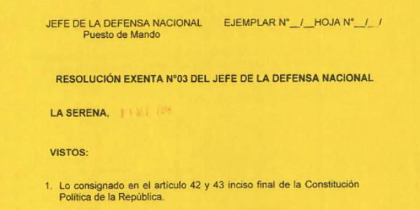 RESOLUCIÓN EXENTA Nº3, JEFATURA DE LA DEFENSA NACIONAL DE COQUIMBO & LA SERENA