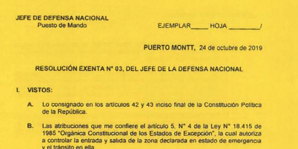 RESOLUCIÓN EXENTA Nº3, JEFATURA DE LA DEFENSA NACIONAL PUERTO MONTT & OSORNO